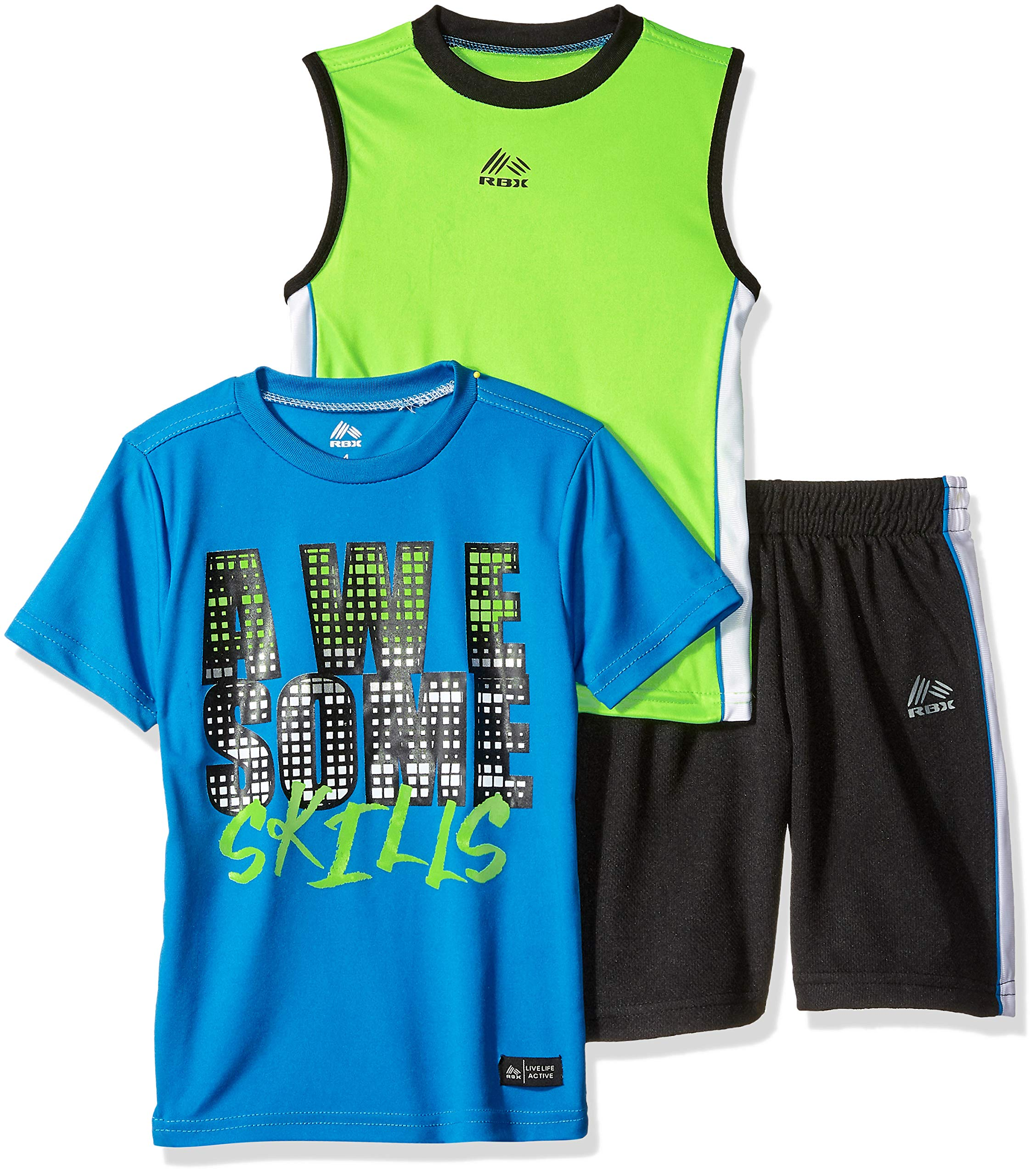 RBX Boys' Little 3 Piece Performance Top, Tank and Short Set, Awesome Blue, 5/6