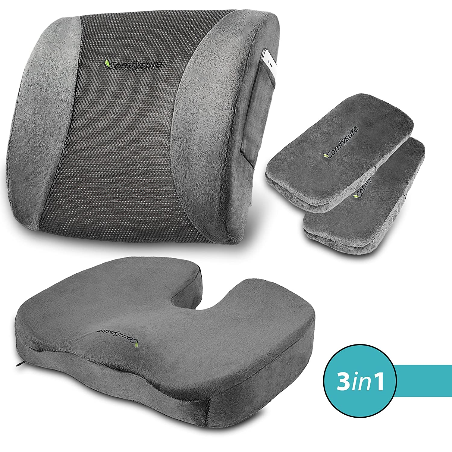ComfySure 3 Piece Seat Cushion Set – Back Lumbar Support, Tailbone Coccyx Pain Relief and 2 Padded Armrest Covers – Memory Foam, Removable Plush Covers – Fits Most Office Computer Chairs -by