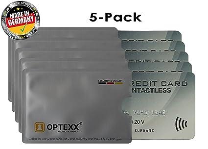 Funda para tarjetas de crédito OPTEXX RFID, 5 tarjetas Fritz EC, bloqueo RFID, funda para tarjeta de identificación, funda para tarjetas de FunkChips
