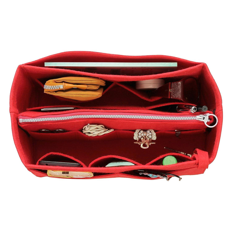 Se adapta a Neverfull MM / Speedy 30, Red] Organizador de fieltro (con bolsa de cremallera media desmontable), bolsa en bolsa, inserto de bolso de lana, organizador personalizado, bolso de pañal de