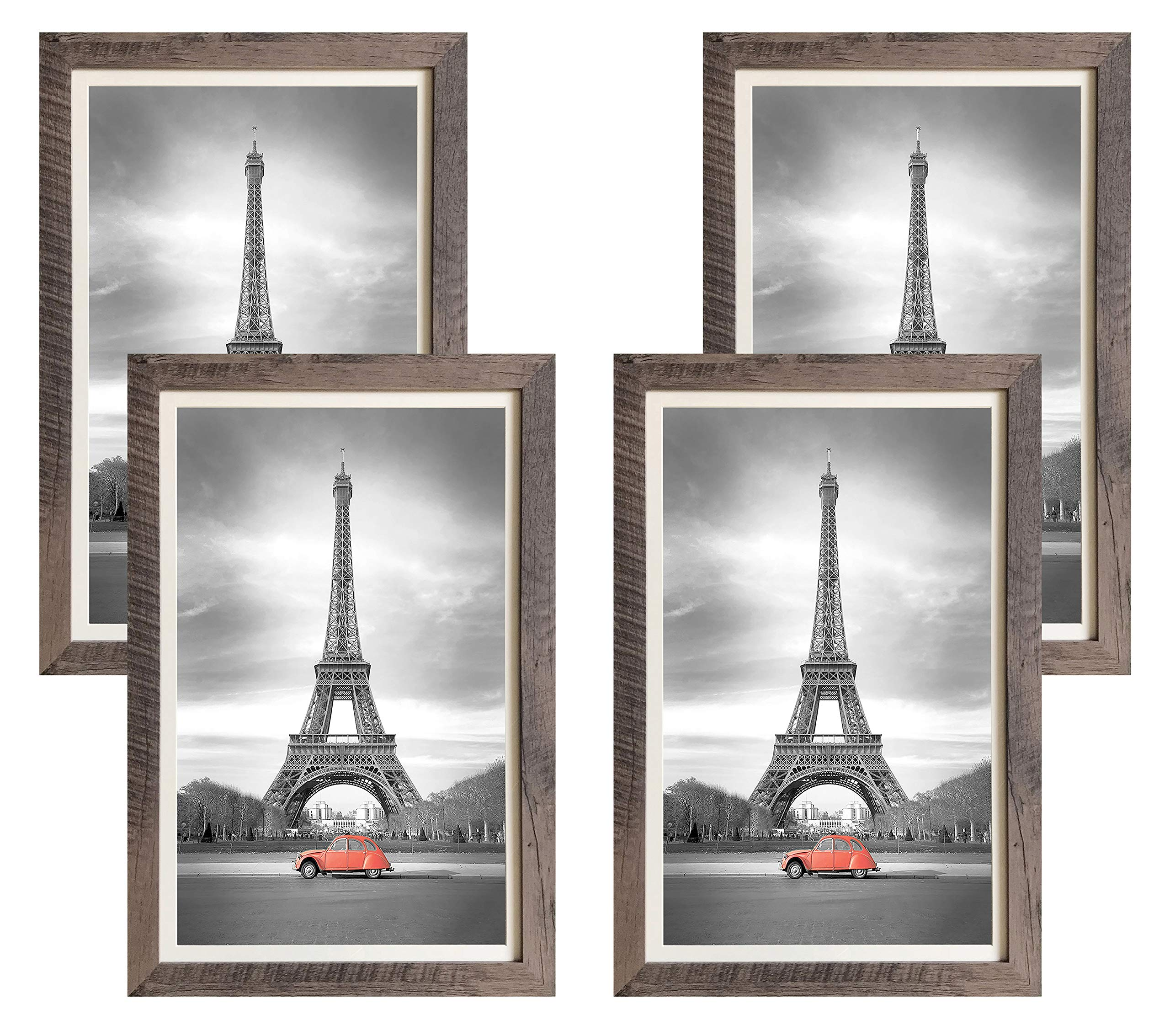 Art Emotion Rustic Oak Style Picture Frame, 2MM Reinforced Glass, Dark Oak Finish 12x18 Frame for 11x17 Photo (12x18 Without MAT), Hangers Included for Horizontal or Vertical Hanging, Pack of 4