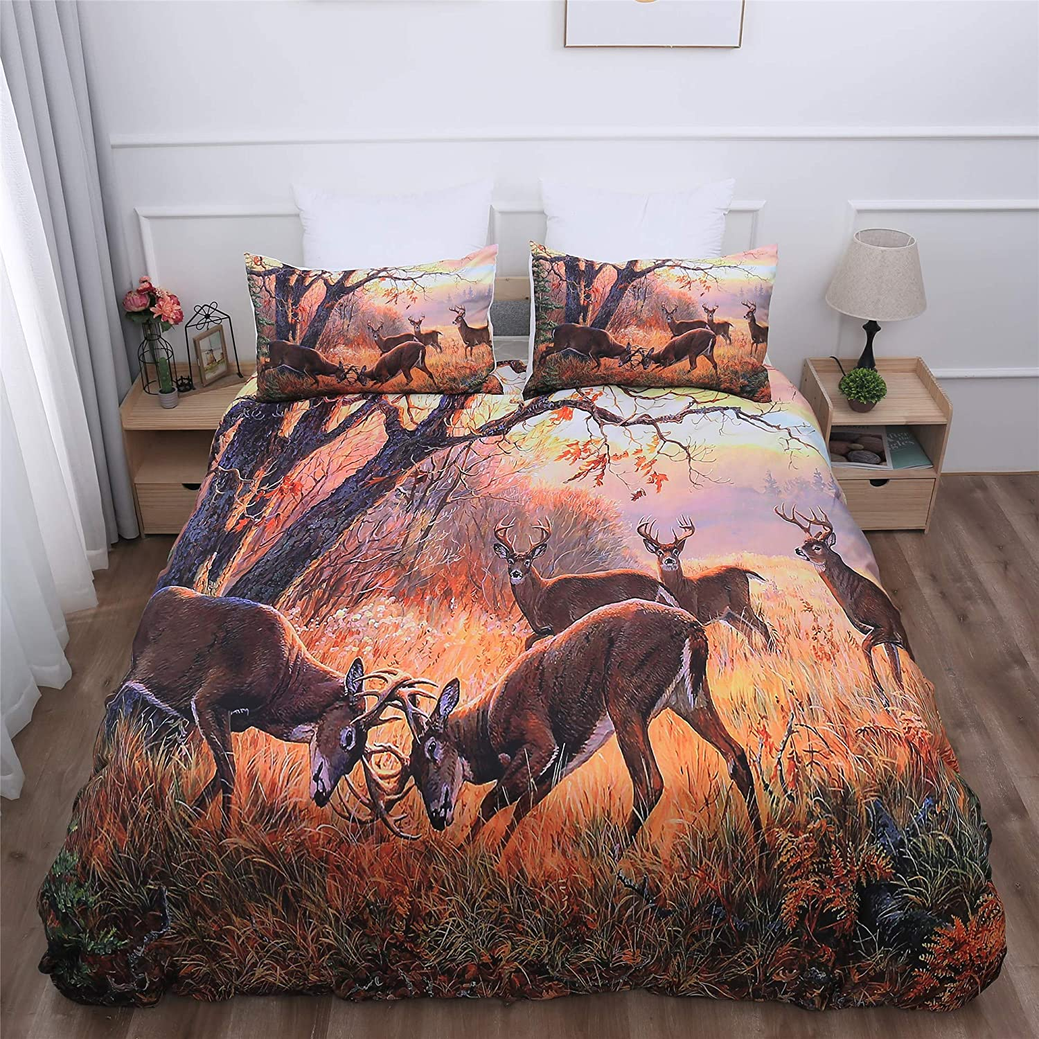 Amazon Com Goodidea Great Outdoor Deer Duvet Cover Set Hunting Wild Animal Autumn Camo Decorative Bedding Quilt Cover Pillowcase Set Soft Breathable Queen Size Kitchen Dining