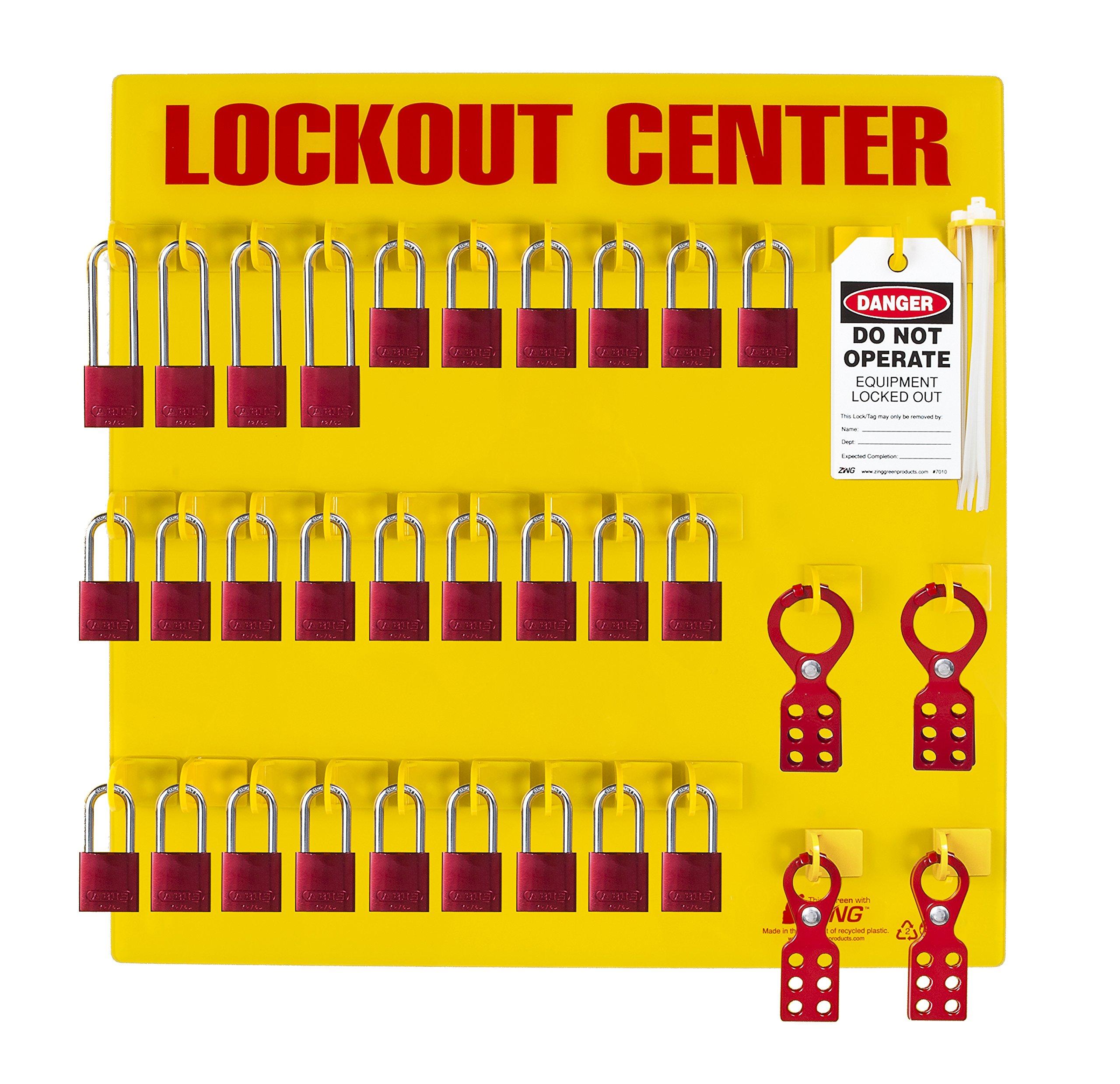 ZING 2729 RecycLockout Lockout Tagout Station, 28 Aluminum Padlock