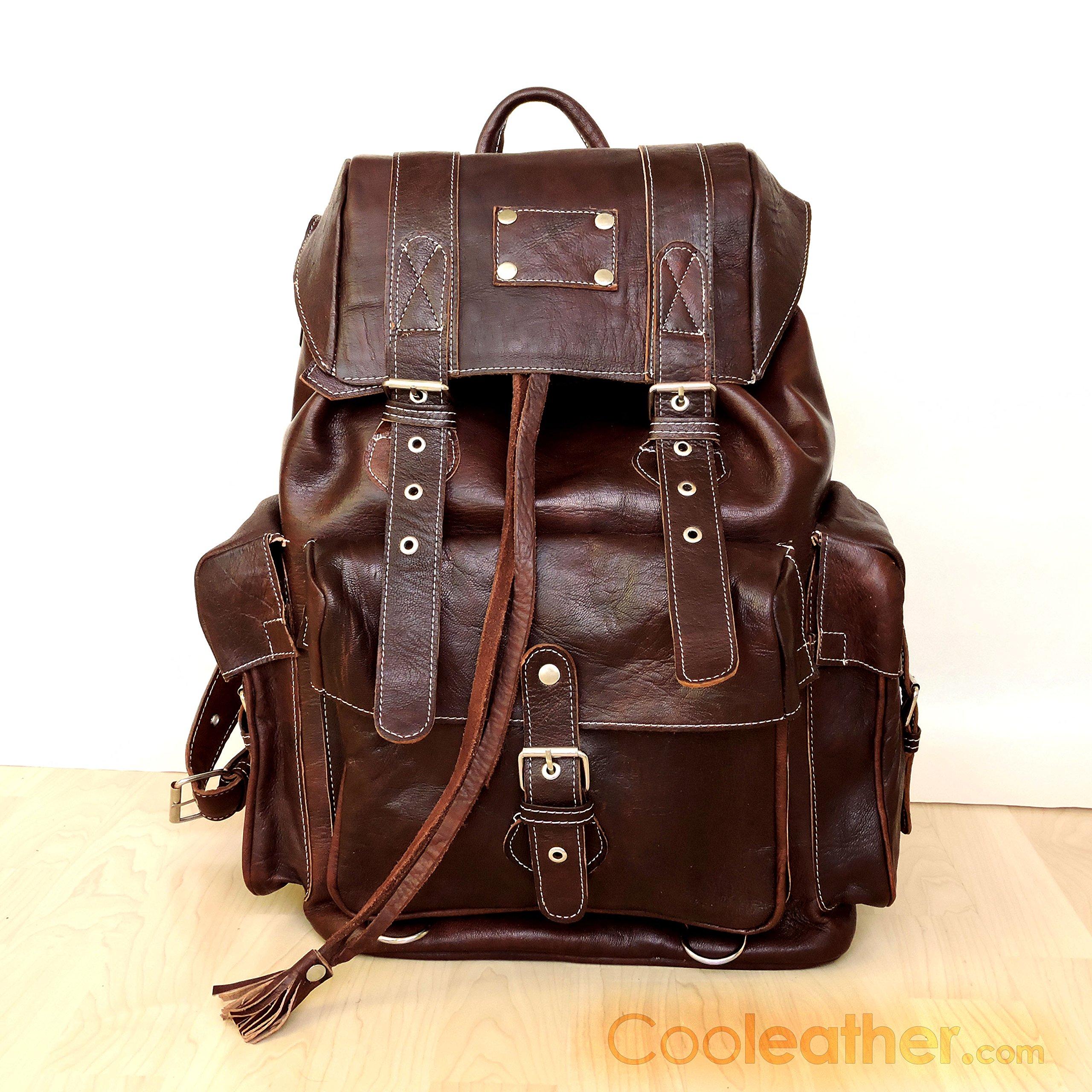 Handmade Extra Large Brown Leather Hiking Backpack, 23 Liters Travel Knapsack