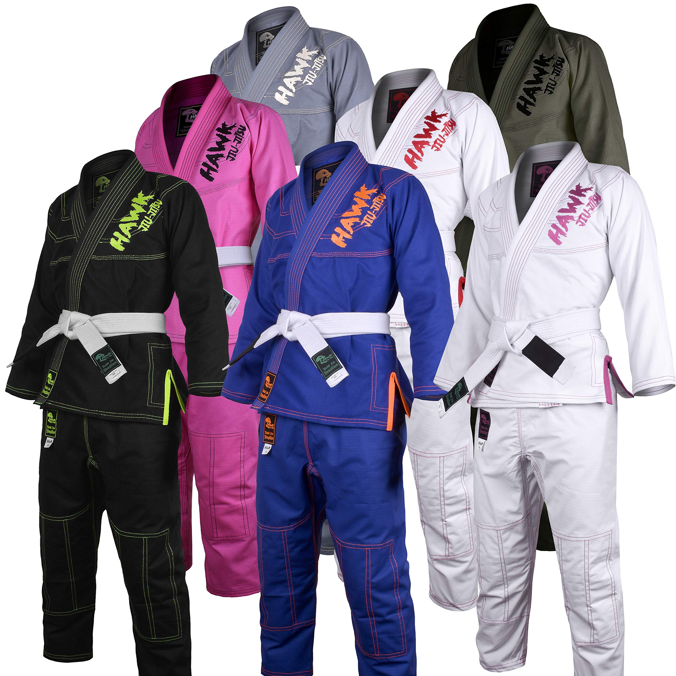 Hawk Kids Brazilian Jiu Jitsu Suit Youth Children BJJ Gi Kimonos Boys & Girls BJJ Uniform Lightweight Preshrunk Pearl Weave Fabric, with Free White Belt, 1 Year Warranty!!! (K0, Blue) by HAWK Jiu Jitsu