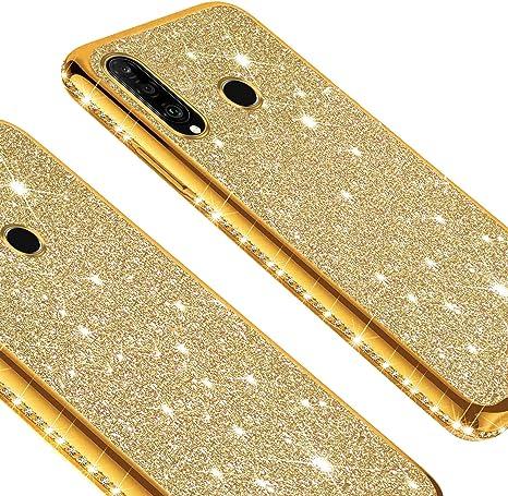 YSIMEE Compatible con Fundas Huawei Honor 9 Estuches,Brillante Glitter Suave Ultra Fina Anti-Amarillo con Reforzado Enchapado TPU Goma Antigolpes Protector Carcasas con Diamante,Nero
