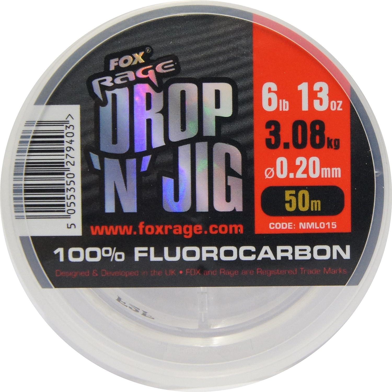 Vorfachschnur Zum Spinnfischen Angelschnur f/ür Vorf/ächer Fox Rage Fluocarbon Schnur Drop n Jig 50m