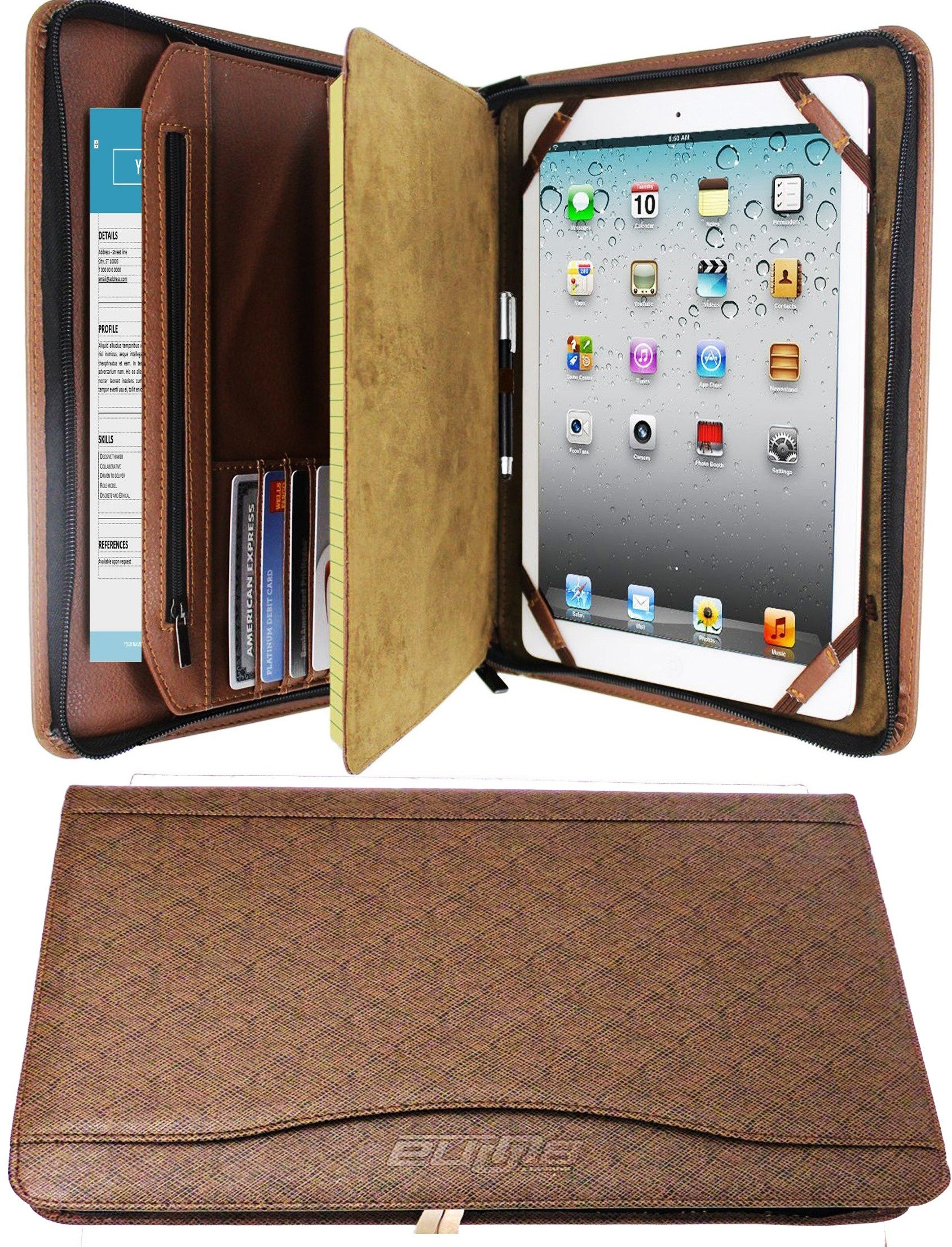 Zipper Binder Business Card Organizer Leather Padfolio iPad Tablet Sleeve Writing Pad Portfolio Folder Interview Conference Meeting Professional Executive Resume Legal Letter Documents Holder (Brown)