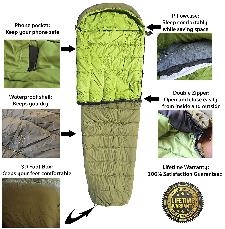 Saco de dormir tipo momia ligero impermeable para excursiones con mochila Acampada Montañismo Aire libre con bolsa de compresión Ultraligero Saco de dormir ...