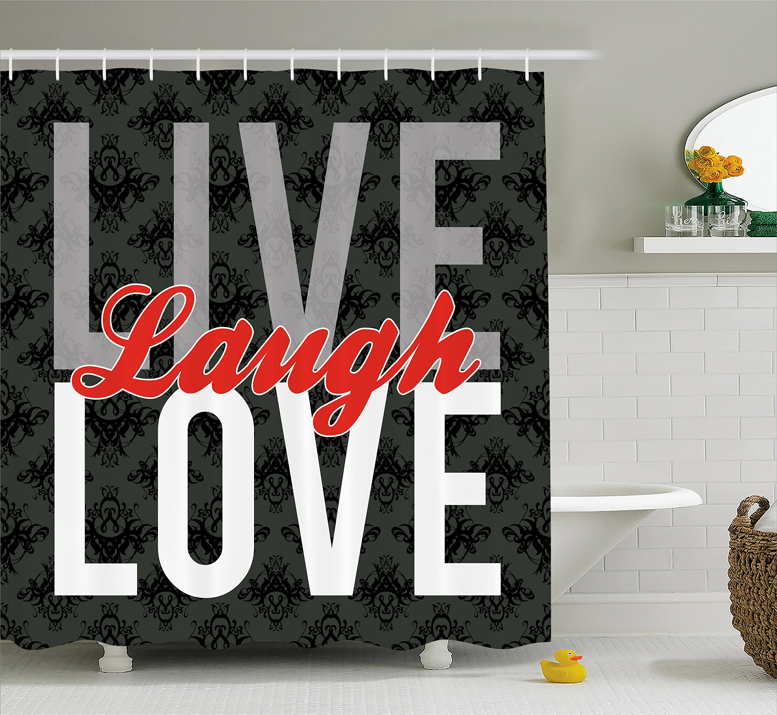 Ambesonne Live Laugh Love Decor Shower Curtain, Different Typed Words of Wisdom Victorian Antique Damask Motifs Tile, Fabric Bathroom Decor Set with Hooks, 75 Inches Long, Multicolor