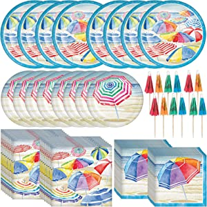 Creative Converting Beach Umbrellas Dinnerware Bundle | Plates, Napkins, Paper Parasols | Kids Birthday Party, Summer Theme Decorations, Hawaiian Decor Supplies