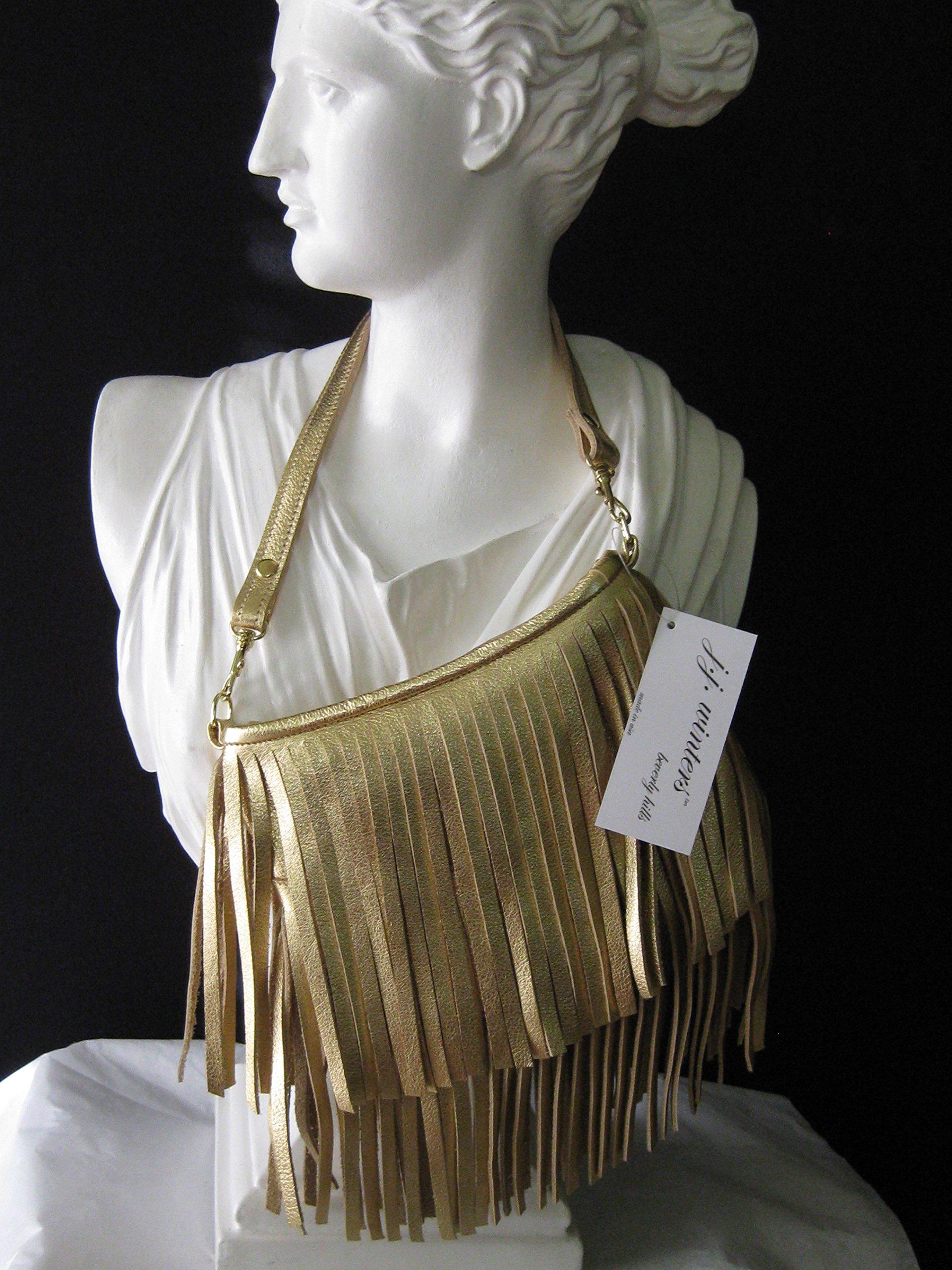 J. J. Winters Vanessa Mini Gold Metallic Leather Women's Fringe Handbag Purse
