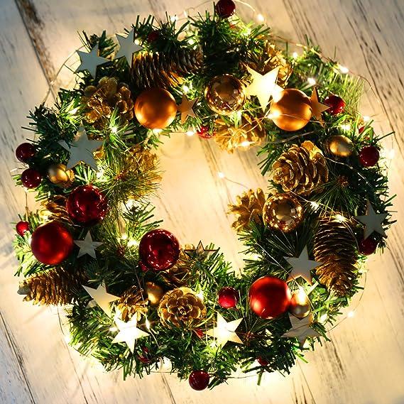 Naler corona de navidad para puerta corona decoraci n - Decoracion navidena amazon ...