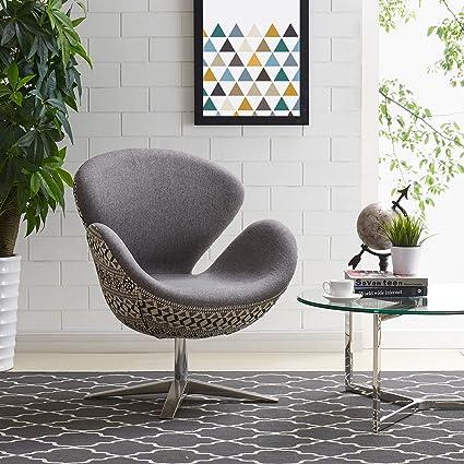 New Pacific Direct 453035 GSDA Beckett Swivel Arm Chair, Diamond Art Gray
