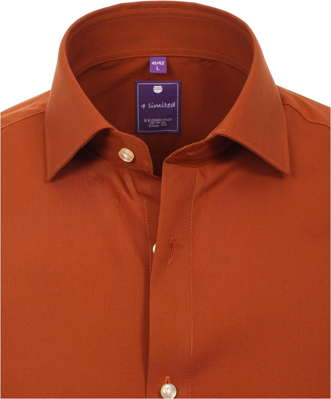 Redmond Herren Popeline Hemd unifarben Slim Fit 100/% Baumwolle Natural Strech