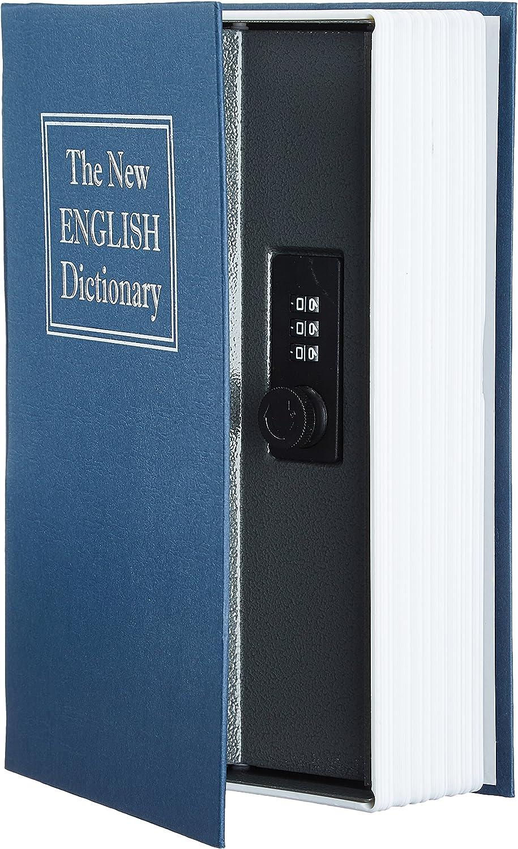AmazonBasics - Caja de seguridad en forma de libro - Cerradura con combinación - Azul: Amazon.es: Bricolaje y herramientas