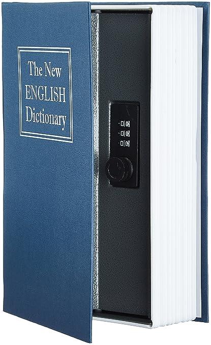 AmazonBasics - Caja de seguridad en forma de libro - Cerradura con combinación - Azul