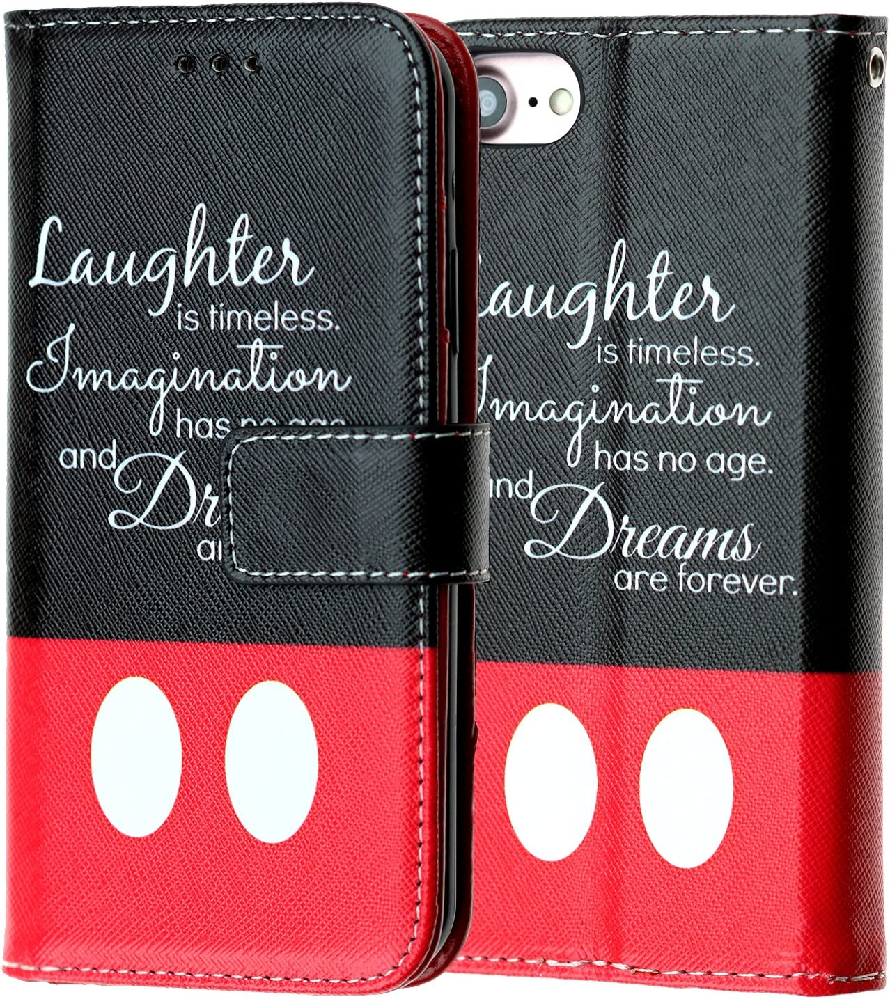 "iPhone 6S+ Plus Wallet Case, IMAGITOUCH Disney Quotes PU Leather Slim Book Wallet Case with Kickstand Wrist Strap and Card Slots for iPhone 6+ Plus / 6S Plus (5.5"")- Disney Quotes Wallet"
