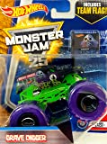 Hot Wheels Monster Jam 2017 Color Treads Grave Digger (Includes Flag) 1:64 Scale, Black and Green with Purple Wheels