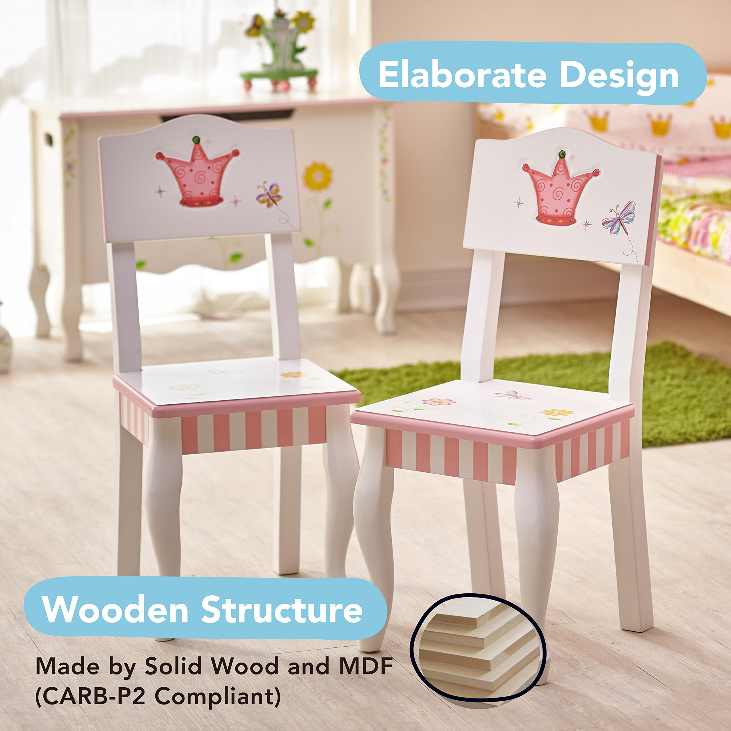 Fantasy Fields - Princess & Frog Thematic Hand Crafted Kids Wooden Table and 2 Chairs Set  Imagination Inspiring Hand Crafted & Hand Painted Details   Non-Toxic, Lead Free Water-based Paint by Fantasy Fields (Image #4)