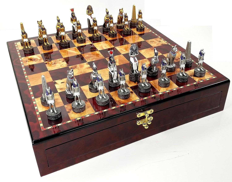 セール特価 Egyptian Anubis Gold & & W/ Silver Chess Men Set W Color/ Color Accents High Gloss Cherry and Burlwood Color Storage Board B071SH64F9, MPC 開進堂楽器WEBSHOP:4f740897 --- nicolasalvioli.com