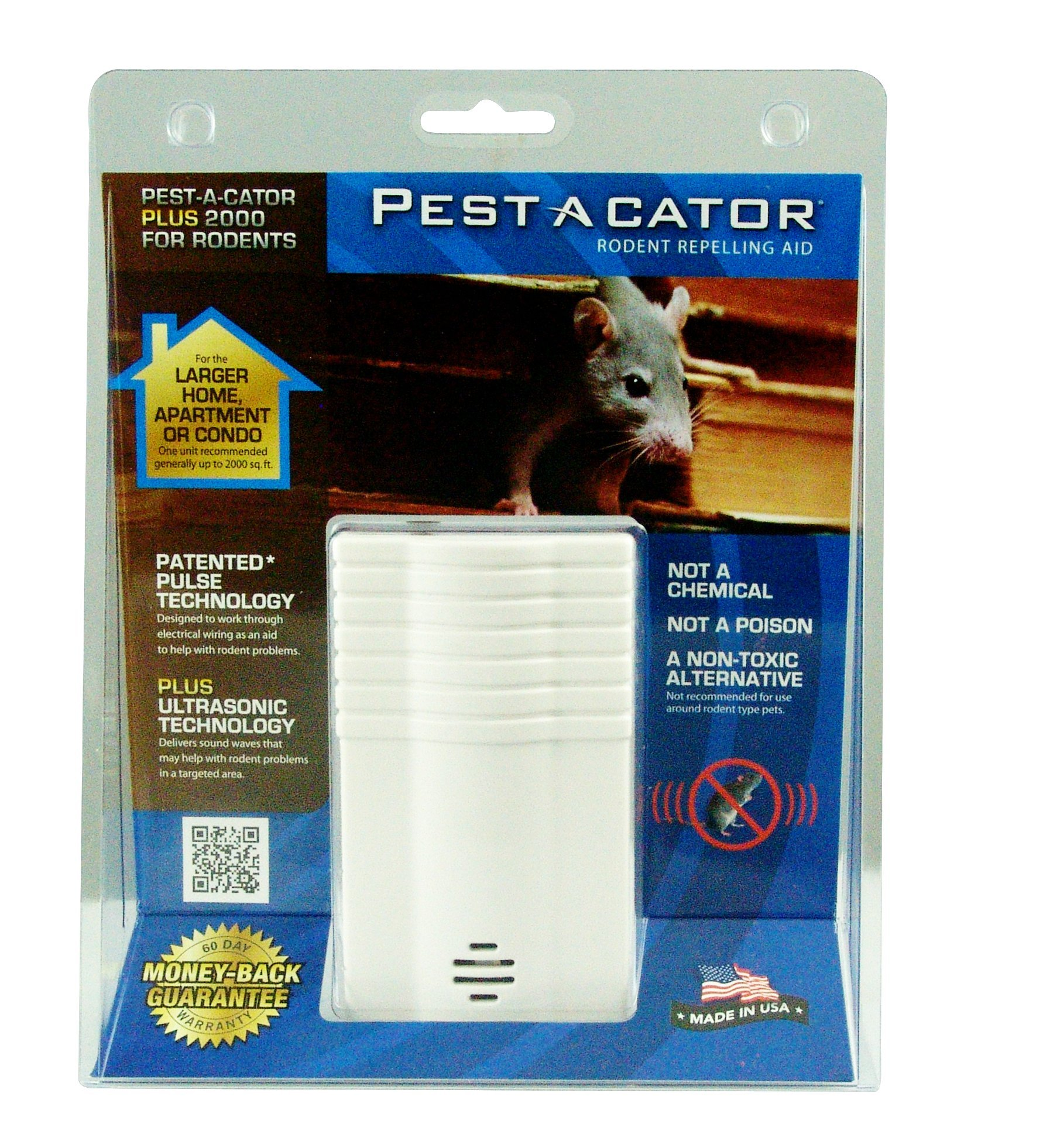 Global Instruments Pest A Cator Plus 2000 Electromagnetic/Ultrasonic Rodent Repeller For Larger Areas