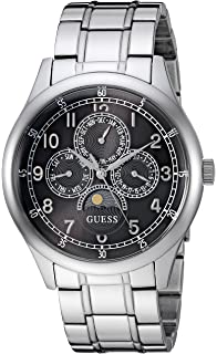 GUESS Mens Japanese-Quartz Watch with Stainless-Steel Strap, Color: Silver-