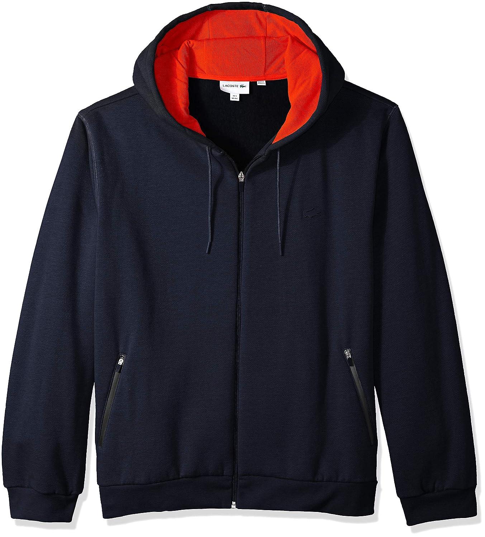 Lacoste Mens Long Sleeve Motion Mixed Media Full Zip Sweatshirt