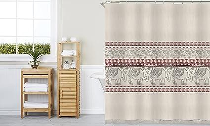 Indecor Home Open Stock Linen Fringe Shower Curtain-Elephant Prophet Multi & Amazon.com: Indecor Home Open Stock Linen Fringe Shower Curtain ...