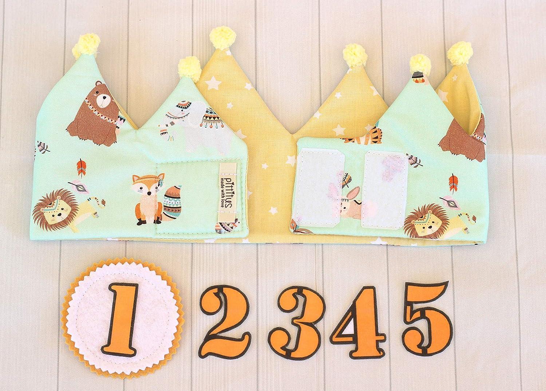 Pittitus corona de cumpleaños bebé regalo primer cumpleaños niños corona reversible