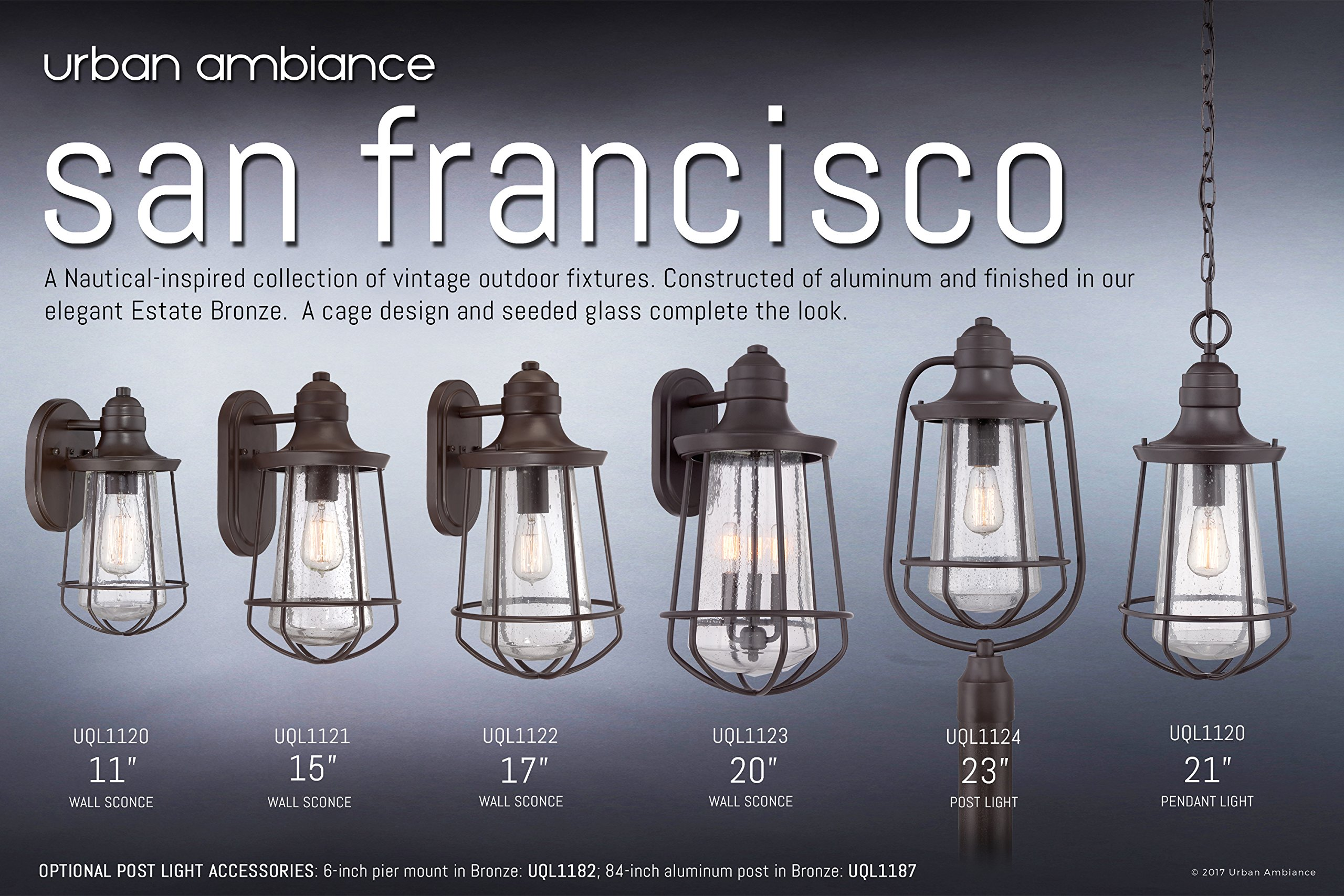 Luxury Vintage Outdoor Wall Light, Medium Size: 15''H x 8.5''W, with Nautical Style Elements, Cage Design, Estate Bronze Finish and Seeded Glass, Includes Edison Bulb, UQL1121 by Urban Ambiance by Urban Ambiance (Image #6)