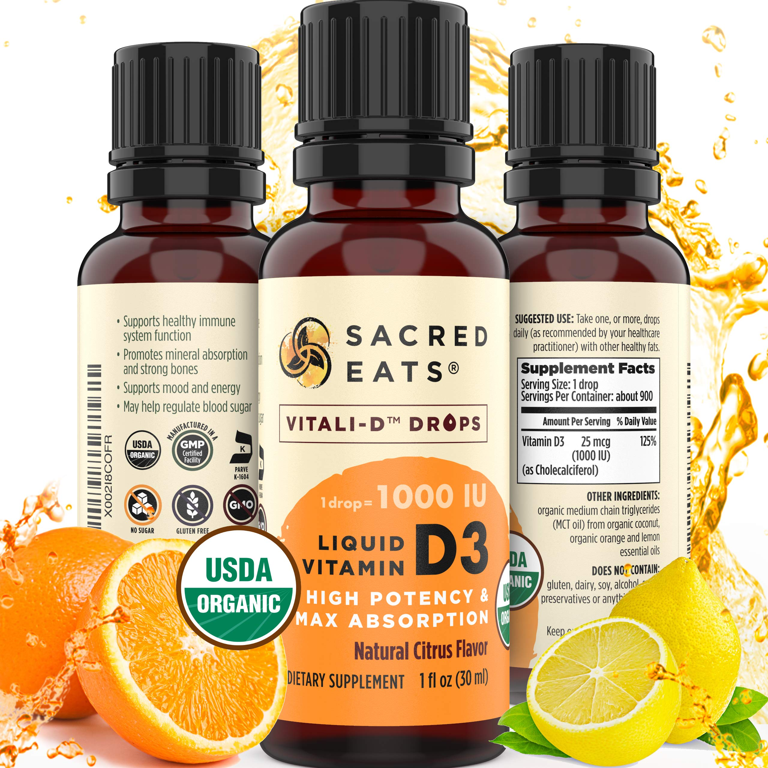Organic Liquid Vitamin D Drops for Adults & Kids - 5000 IU and Up (1000 / Drop). Sugar Free in Coconut MCT Oil for Best Absorption. Amazing Taste D3 Supplement (Citrus)