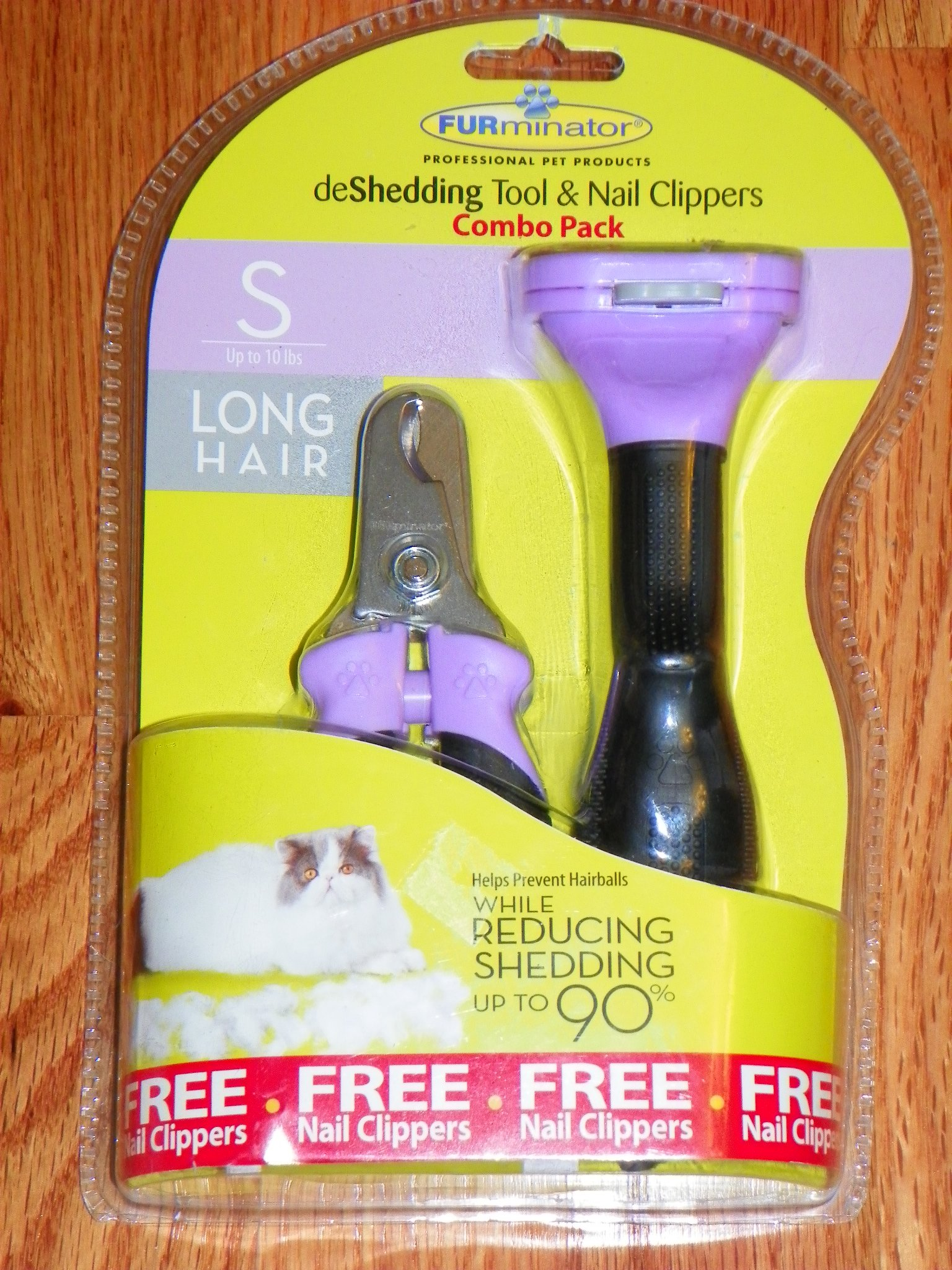 Furminator deShedding Tool & Nail Clippers Combo Pack for Cats: Small (up to 10 lbs), Long Hair