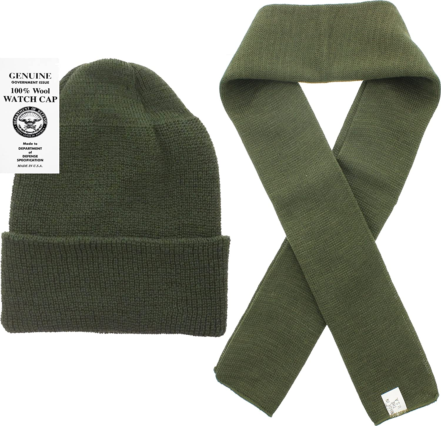 Amazon.com  US Army Genuine GI Military 100% Wool Scarf   Watch Cap (2  Piece Set) (Black)  Clothing f99a95478f8