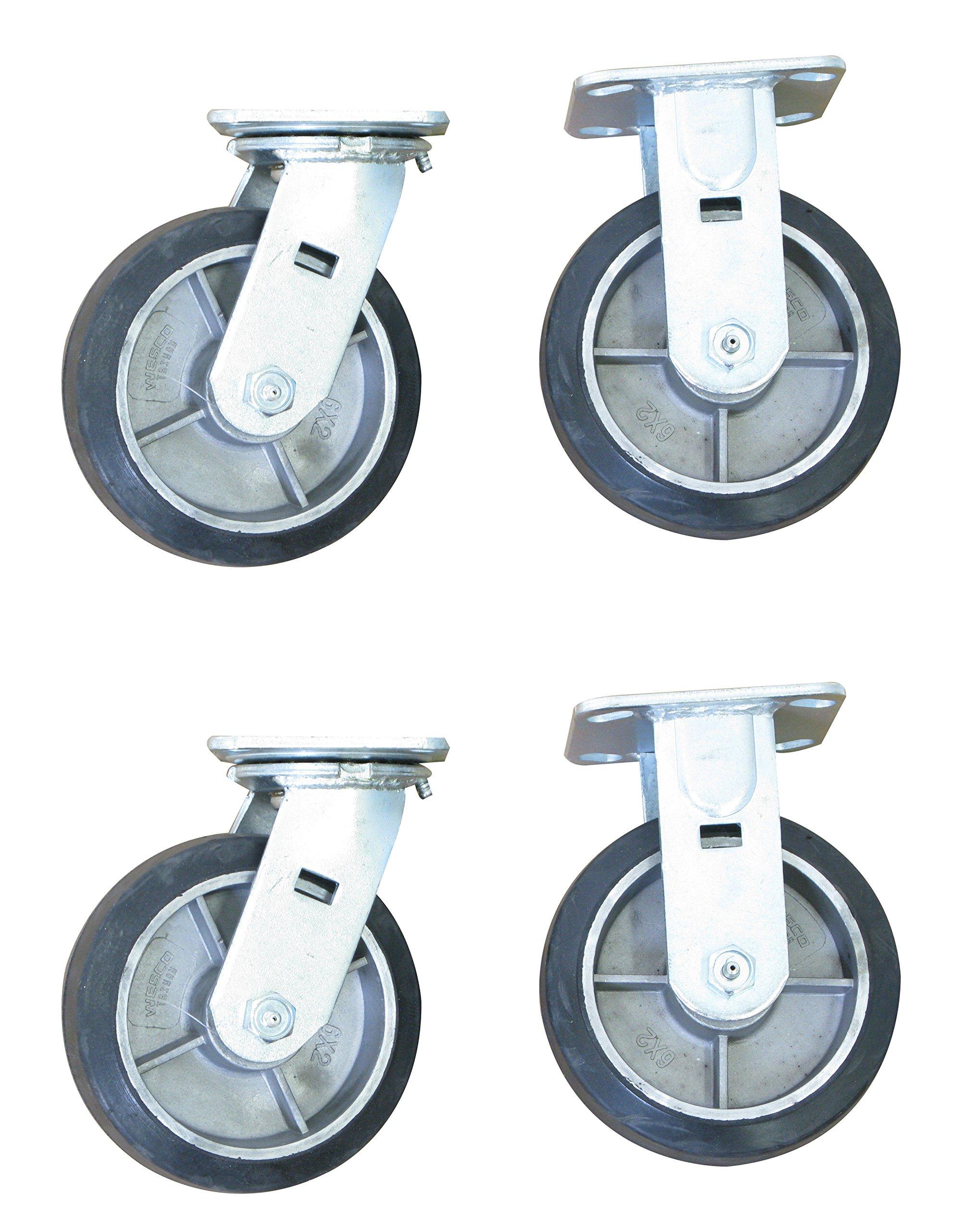 Wesco Industrial Products 273612 6'' Diameter Moldon Rubber Aluminum Hub Wheel Rigid and Swivel Caster, 2000 Pound Capacity