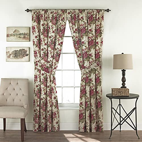 WAVERLY Curtains for Bedroom – Norfolk 100 x 84 Decorative Double Panel Rod Pocket Window Treatment Privacy Curtain Pair for Living Room, Tea Stain