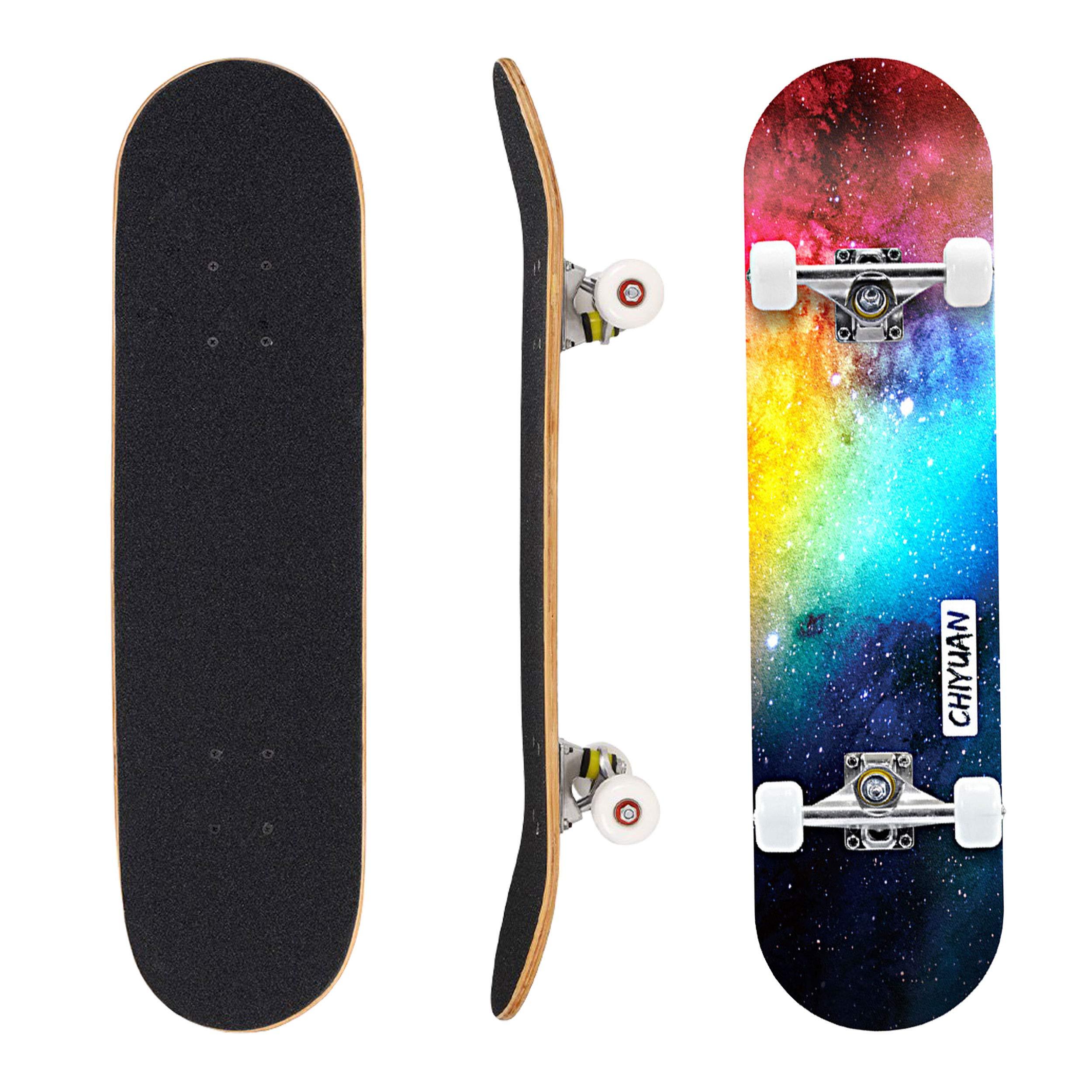 Geelife Skateboard 7 Layers Decks 31''x8'' Pro Complete Skate Board Maple Wood Longboards for Teens Adults Beginners Girls Boys Kids (Nebulae) by Geelife