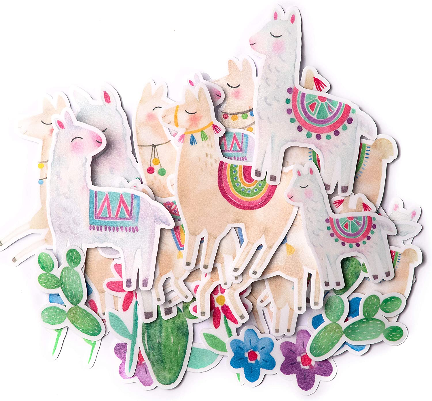Navy Peony Cute Llama Stickers (31 Pieces) | Cool Farm Animal Stickers for Kids | Waterproof Easter Stickers for Water Bottles and Laptops | Aesthetic Sticker Pack for Scrapbooking and Journals