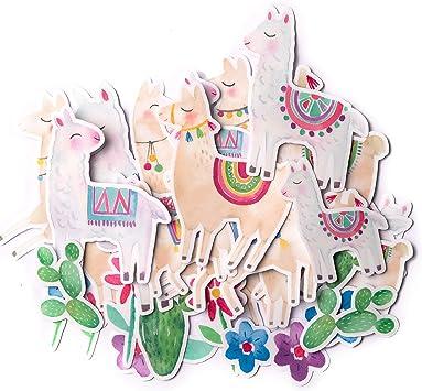 Navy Peony Cute Llama Stickers