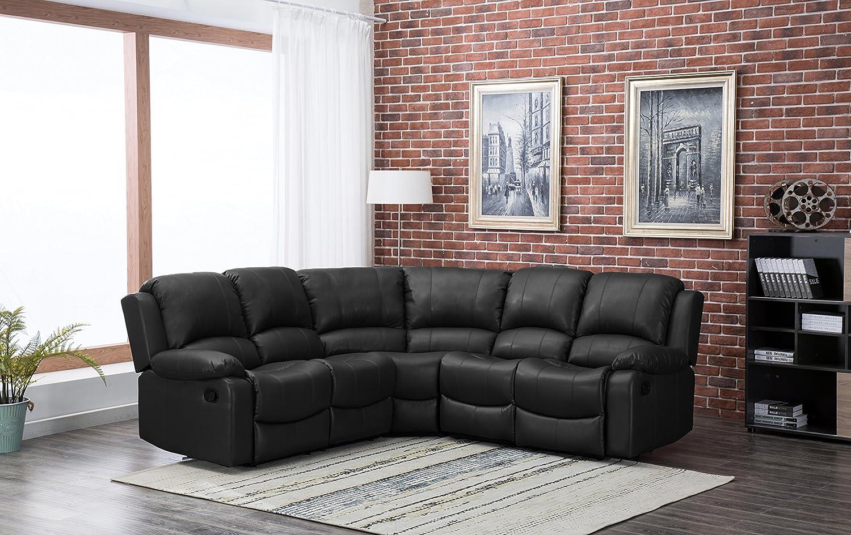 New Marbella Large Leather Reclining Corner Sofa Recliner (Black)