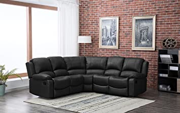 Pleasant New Marbella Large Leather Reclining Corner Sofa Recliner Black Download Free Architecture Designs Sospemadebymaigaardcom