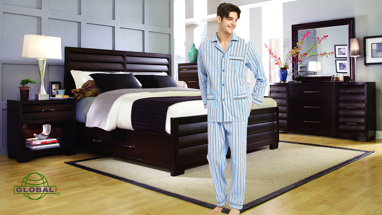 pijamas de hombre , mens thin cotton pajamas set as gift for dad, father, husband