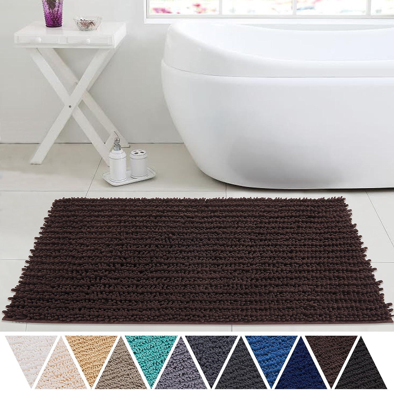 DEARTOWN Bath Mat, Absorbent, Shaggy Doormats Tub Shower Non Slip Mildew Resistant Rug for Shower or Bathroom Capret (20X32 inch Beige)