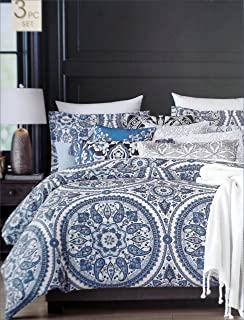 Cynthia Rowley Bedding 3 Piece Full / Queen Duvet Cover Set Round Geometric  Floral Paisley Boteh