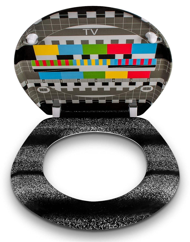 Grinscard Motivo Monoscopio Copriwater in duroplast incluso materiale montaggio Sedile wc chiusura ammortizzata