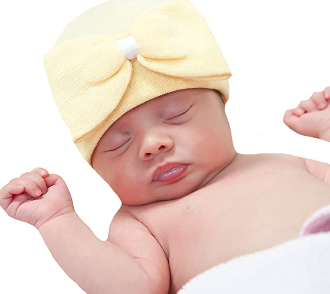 6947930c75e Image Unavailable. Image not available for. Color  Melondipity Yellow Big  Bow Newborn Hospital Hat ...