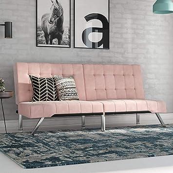 Awe Inspiring Dhp Emily Futon Pink Velvet Andrewgaddart Wooden Chair Designs For Living Room Andrewgaddartcom