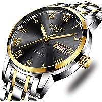 Montre LIGE Homme Mode Sport étanche Analogique Quartz Montres avec Acier Inoxydable Bracelet