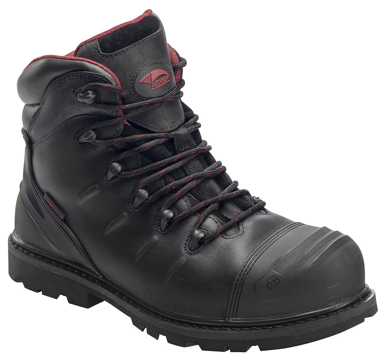 11.5 6E US Avenger Safety Footwear Mens 6 Leather Carbon Nanofiber Comp Toe Waterproof Puncture Resistant EH Slip Resistant Boot Black