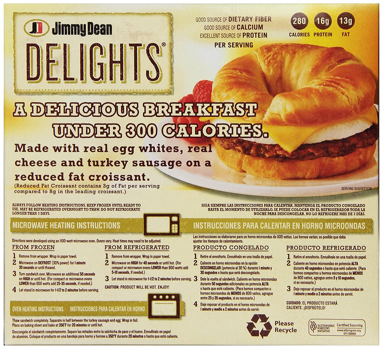 Jimmy Dean, Delights Turkey Sausage Croissant, 4 ct (frozen): Amazon.com: Grocery & Gourmet Food